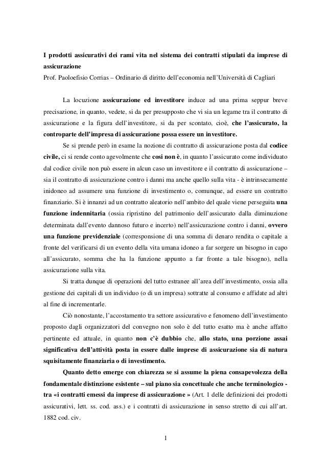 I prodotti assicurativi dei rami vita nel sistema dei contratti stipulati da imprese di assicurazione Prof. Paoloefisio Co...