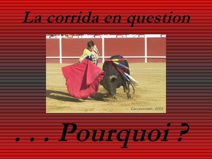 La corrida en question . . . Pourquoi ? Carcassonne, 2003