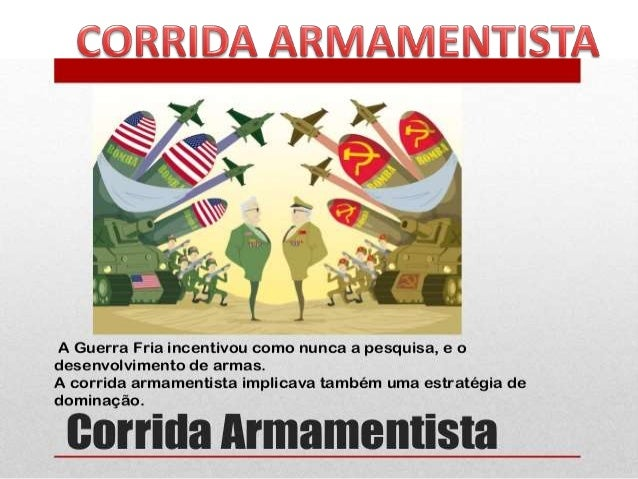 CORRIDA ARMAMENTISTA Processo pelo qual um país busca armar-se com o intuito de proteger-se de outro. Ao mesmo tempo, um p...