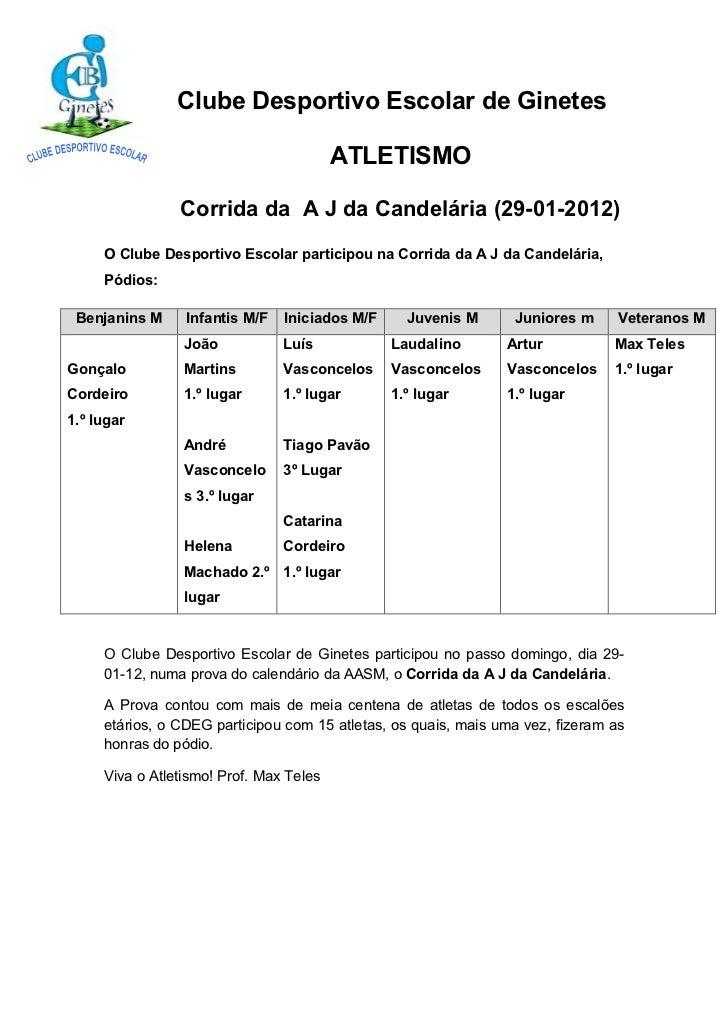 Clube Desportivo Escolar de Ginetes                                         ATLETISMO                Corrida da A J da Can...
