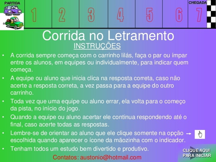 PARTIDA                                                               CHEGADA               Corrida no Letramento         ...