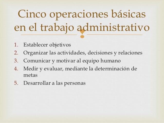 Cinco operaciones básicasen el trabajo administrativo                          1. Establecer objetivos2. Organizar las ac...