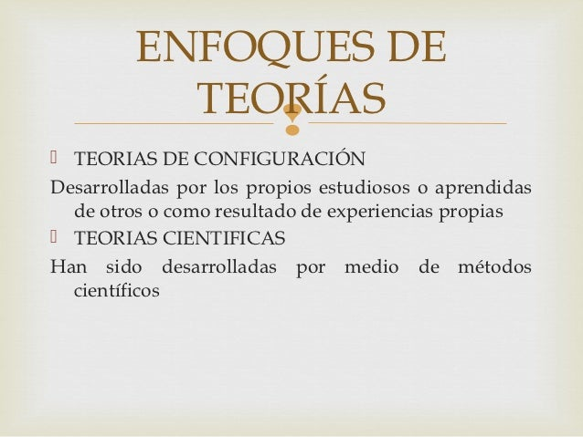 ENFOQUES DE           TEORÍAS               TEORIAS DE CONFIGURACIÓNDesarrolladas por los propios estudiosos o aprendida...
