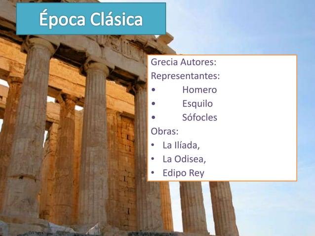 Roma Autores:•   Plauto•   Terencio•   CicerónObras representativas:•    Catilinarias•    La Eneida•    Las Heroidas