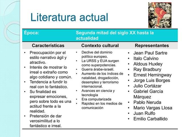 Literatura actual Época: Segunda mitad del siglo XX hasta la actualidad Características Contexto cultural Representantes •...