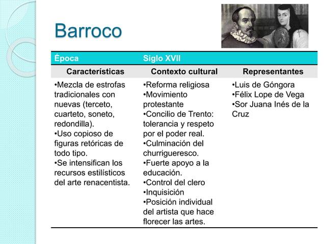 Barroco Época Siglo XVII Características Contexto cultural Representantes •Mezcla de estrofas tradicionales con nuevas (te...