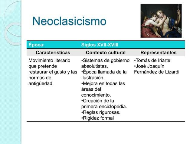 Neoclasicismo Época: Siglos XVII-XVIII Características Contexto cultural Representantes Movimiento literario que pretende ...