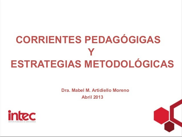 CORRIENTES PEDAGÓGIGAS            YESTRATEGIAS METODOLÓGICAS       Dra. Mabel M. Artidiello Moreno               Abril 2013