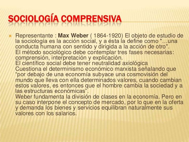 SOCIOLOGÍA COMPRENSIVA<br />Representante : Max Weber ( 1864-1920) El objeto de estudio de la sociología es la acción soci...