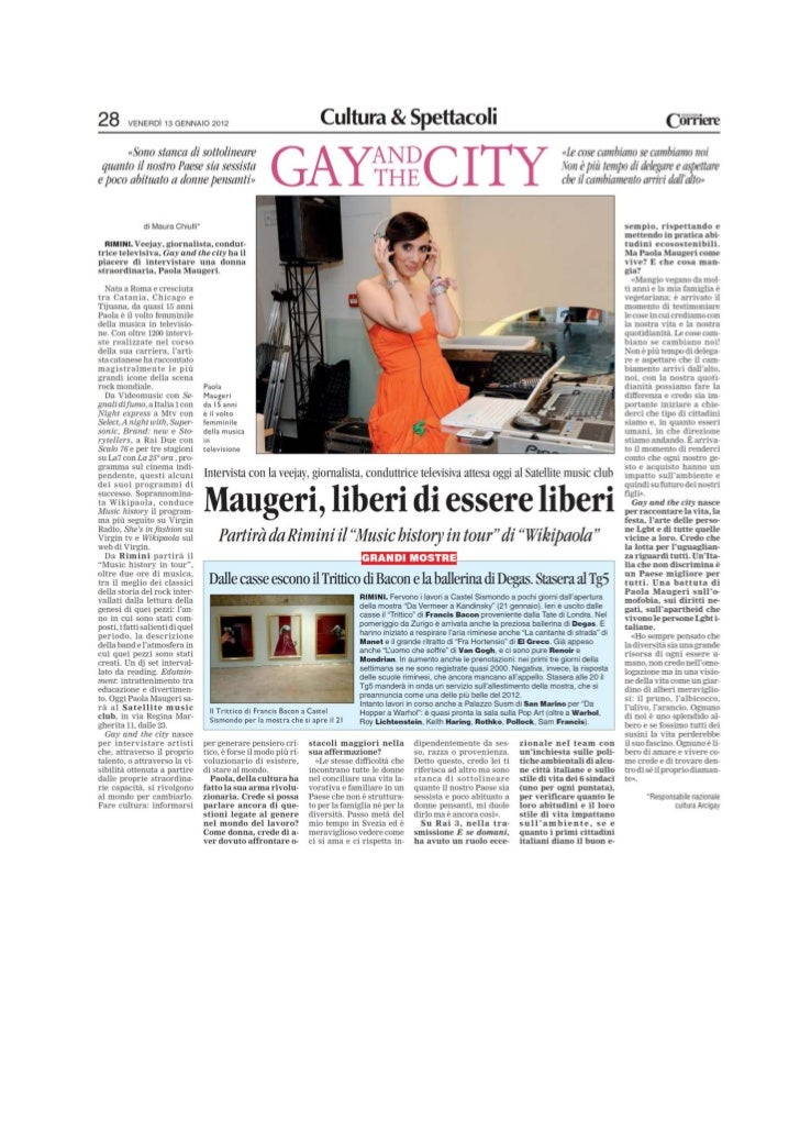 Corriere di romagna (Gay And The City)  del  13. 12. 2012