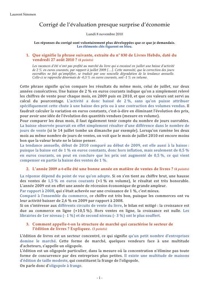Laurent Simmen                 Corrigé de l'évaluation presque surprise d'économie                                        ...