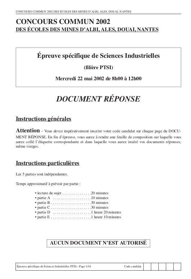 CONCOURS COMMUN 2002 DES ÉCOLES DES MINES D'ALBI, ALES, DOUAI, NANTESCONCOURS COMMUN 2002DES ÉCOLES DES MINES D'ALBI, ALES...
