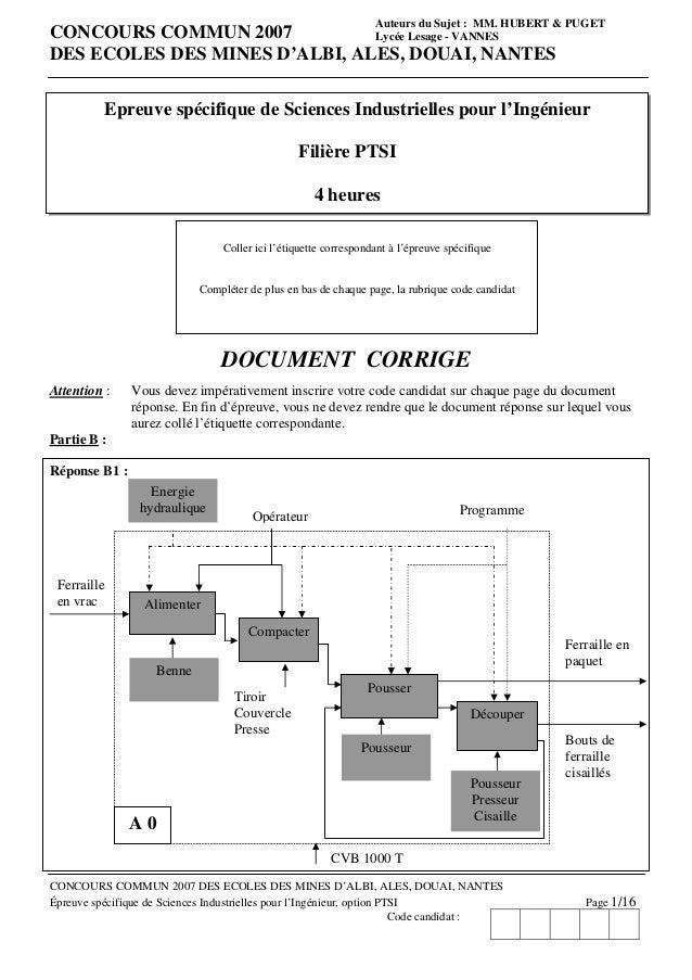 Auteurs du Sujet : MM. HUBERT & PUGETCONCOURS COMMUN 2007           Lycée Lesage - VANNESDES ECOLES DES MINES D'ALBI, ALES...