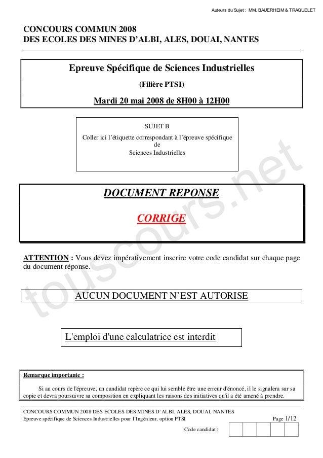 Auteurs du Sujet : MM. BAUERHEIM & TRAQUELETCONCOURS COMMUN 2008DES ECOLES DES MINES D'ALBI, ALES, DOUAI, NANTES          ...