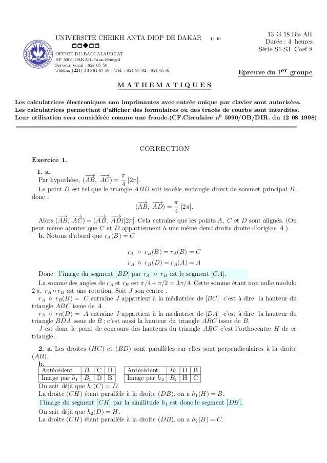 UNIVERSITE CHEIKH ANTA DIOP DE DAKAR 1/ 10 OFFICE DU BACCALAUREAT BP 5005-DAKAR-Fann-S´en´egal Serveur Vocal : 628 05 59 T...