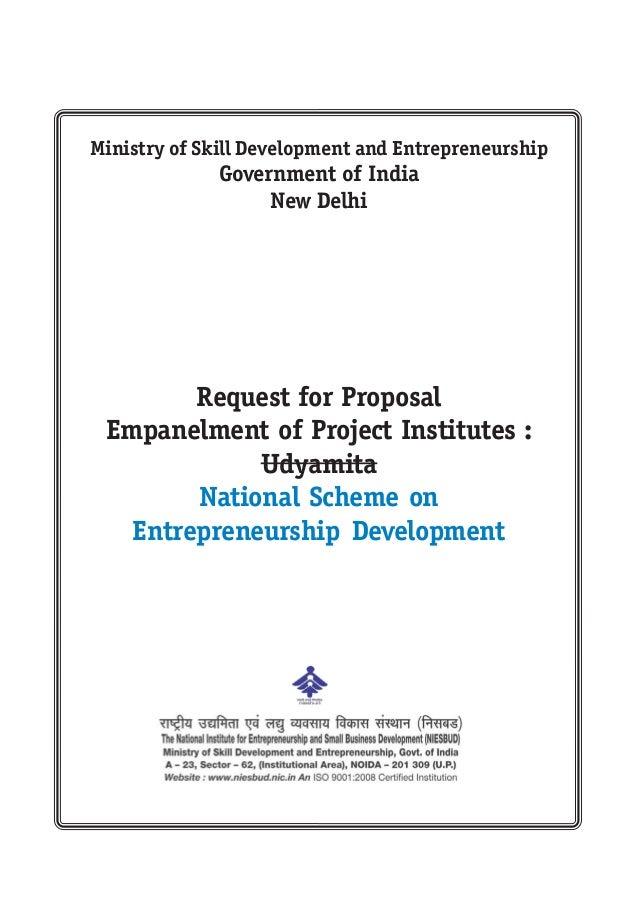 Request for Proposal Empanelment of Project Institutes : Udyamita National Scheme on Entrepreneurship Development Ministry...