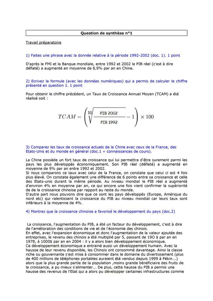 Question de synthèse n°1  Travail préparatoire   1) Faites une phrase avec la donnée relative à la période 1992-2002 (doc....