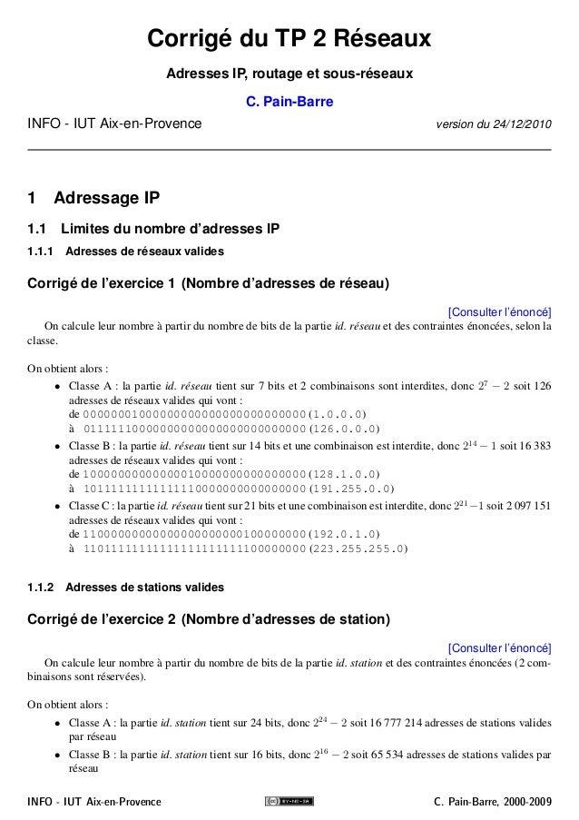 Corrigé du TP 2 Réseaux Adresses IP, routage et sous-réseaux C. Pain-Barre INFO - IUT Aix-en-Provence version du 24/12/201...