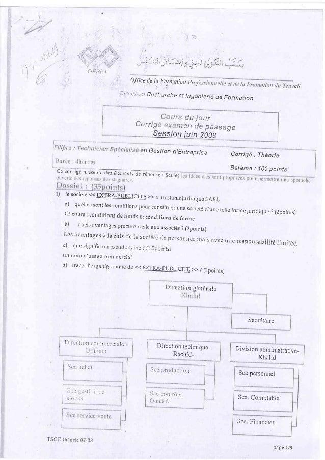 Corrigé examen de passage session juin 2008