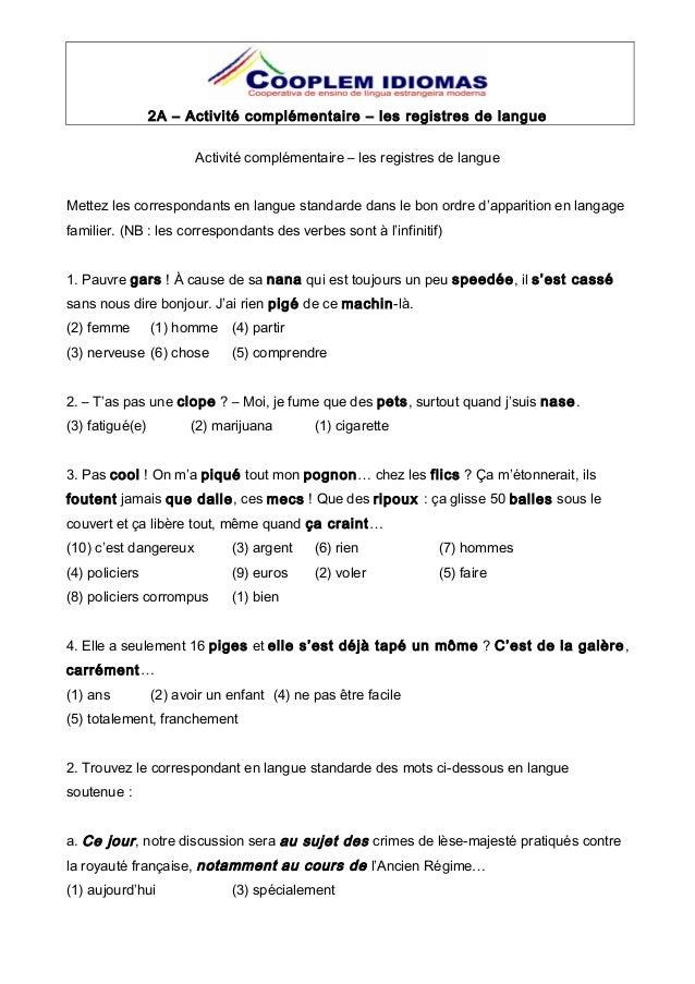 corrig u00e9s lexique les registres de langue