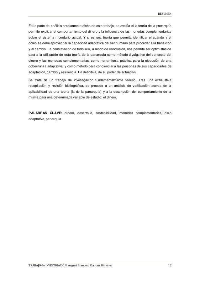 RESUMEN TRABAJO de INVESTIGACIÓN: August Francesc Corrons Giménez 12 En la parte de análisis propiamente dicho de este tra...