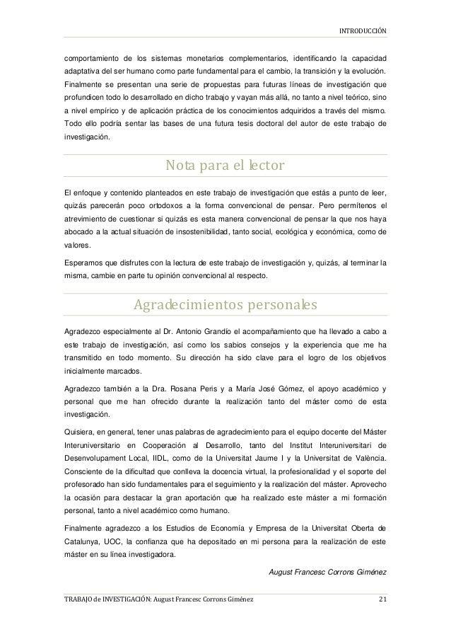 INTRODUCCIÓN TRABAJO de INVESTIGACIÓN: August Francesc Corrons Giménez 21 comportamiento de los sistemas monetarios comple...