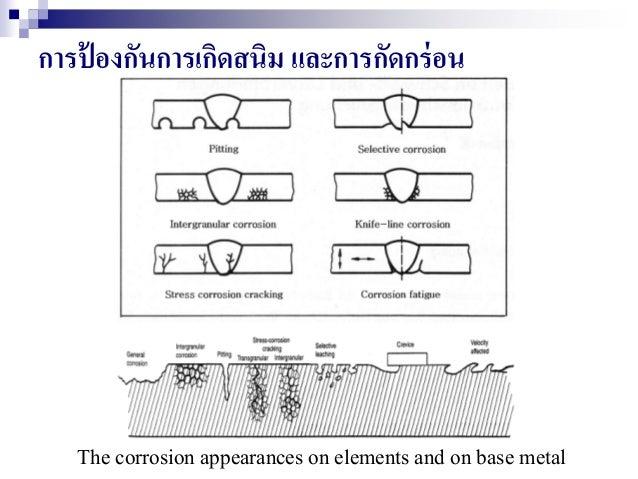 การป้ องกันการเกิดสนิม และการกัดกร่อน The corrosion appearances on elements and on base metal