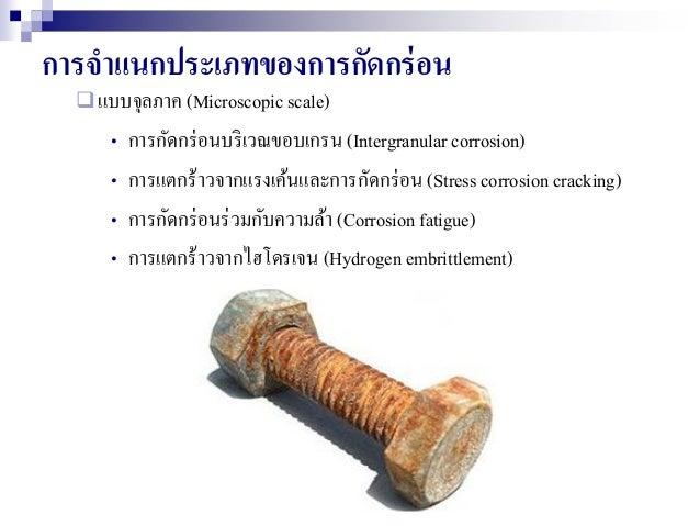 การจาแนกประเภทของการกัดกร่อน แบบจุลภาค (Microscopic scale) • การกัดกร่อนบริเวณขอบเกรน (Intergranular corrosion) • การแตกร...