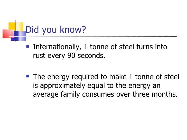 Did you know? <ul><li>Internationally, 1 tonne of steel turns into rust every 90 seconds. </li></ul><ul><li>The energy req...