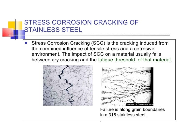 STRESS CORROSION CRACKING OF STAINLESS STEEL <ul><li>Stress Corrosion Cracking (SCC) is the cracking induced from the comb...