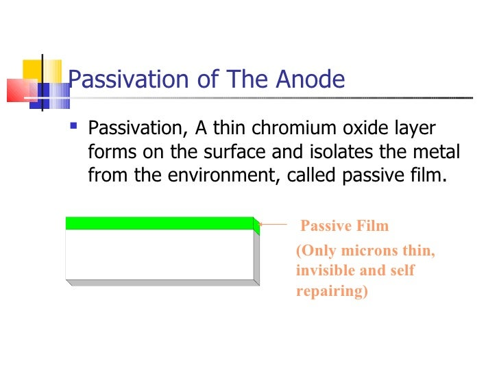 Passivation of The Anode <ul><li>Passivation,   A thin chromium oxide layer forms on the surface and isolates the metal fr...