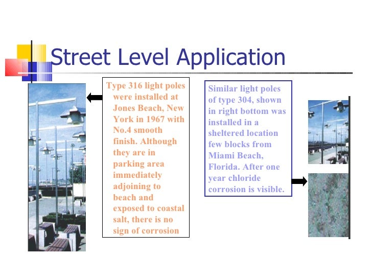 Street Level Application Type 316 light poles were installed at Jones Beach, New York in 1967 with No.4 smooth finish. Alt...