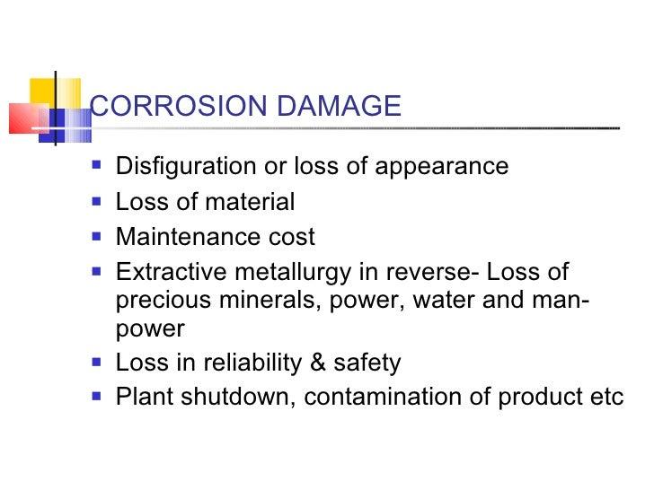 CORROSION DAMAGE <ul><li>Disfiguration or loss of appearance   </li></ul><ul><li>Loss of material  </li></ul><ul><li>Maint...