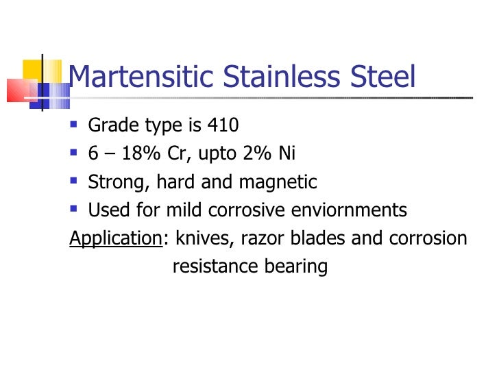 Martensitic Stainless Steel <ul><li>Grade type is 410 </li></ul><ul><li>6 – 18% Cr, upto 2% Ni </li></ul><ul><li>Strong, h...