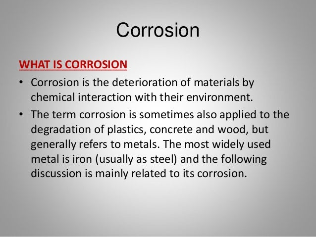 Corrosion in Metals  Slide 2