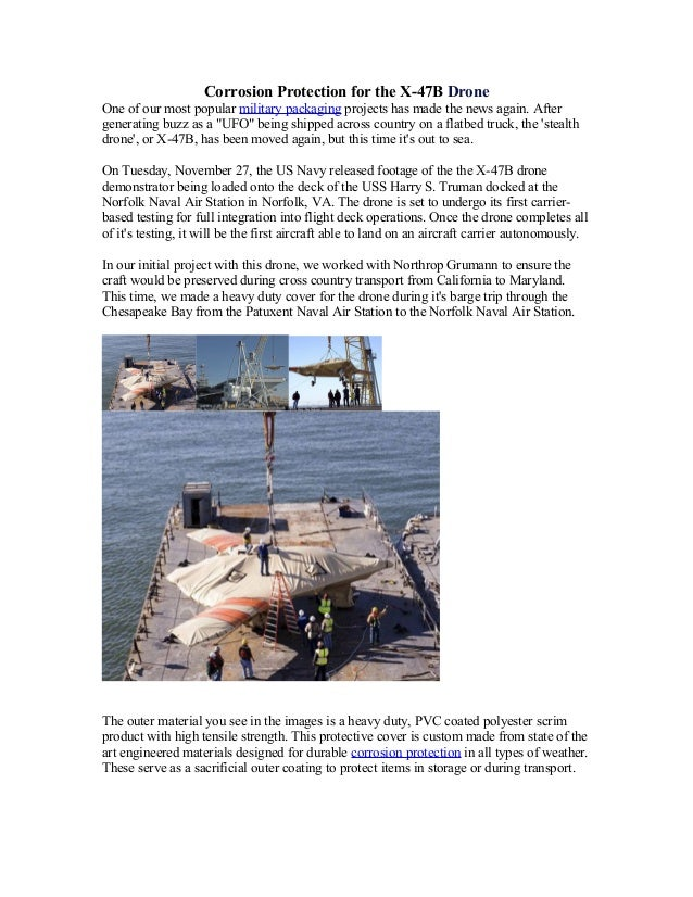 Corrosion Protection for the X-47B DroneOne of our most popular military packaging projects has made the news again. After...
