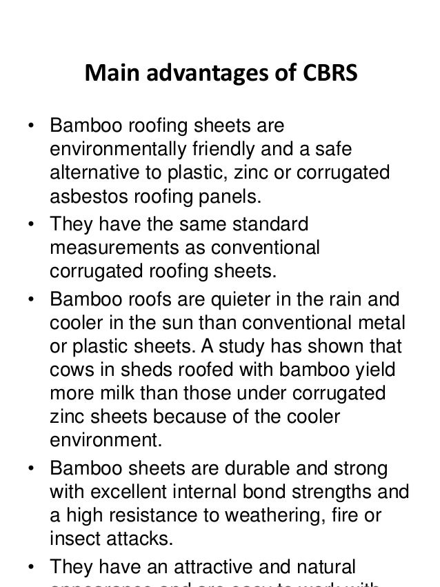 Complete House With BMCS Roofing; 8. Main Advantages Of CBRS U2022 Bamboo ...