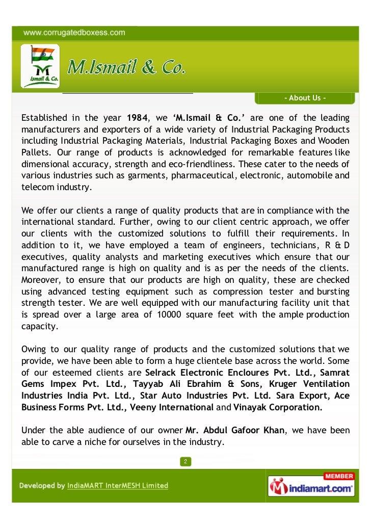 M. Ismail & Co., Mumbai, Corrugated Box Slide 2