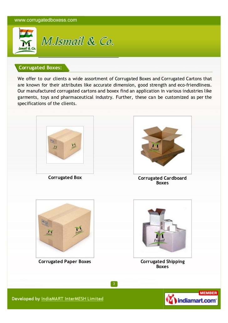 M. Ismail & Co., Mumbai, Corrugated Box Slide 3