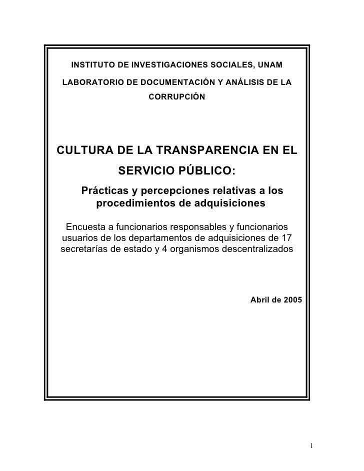 INSTITUTO DE INVESTIGACIONES SOCIALES, UNAM  LABORATORIO DE DOCUMENTACIÓN Y ANÁLISIS DE LA                     CORRUPCIÓN ...