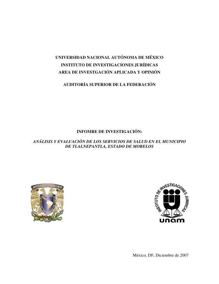 UNIVERSIDAD NACIONAL AUTÓNOMA DE MÉXICO            INSTITUTO DE INVESTIGACIONES JURÍDICAS           AREA DE INVESTGACIÓN A...