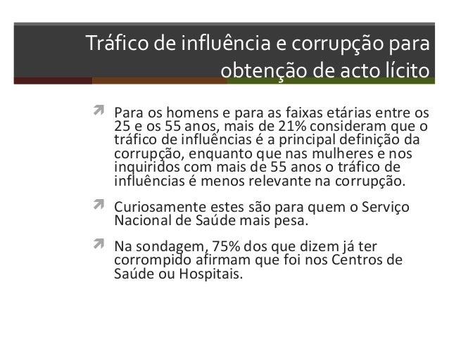 Tráfico de influência e corrupção para obtenção de acto lícito  Para os homens e para as faixas etárias entre os  25 e os...