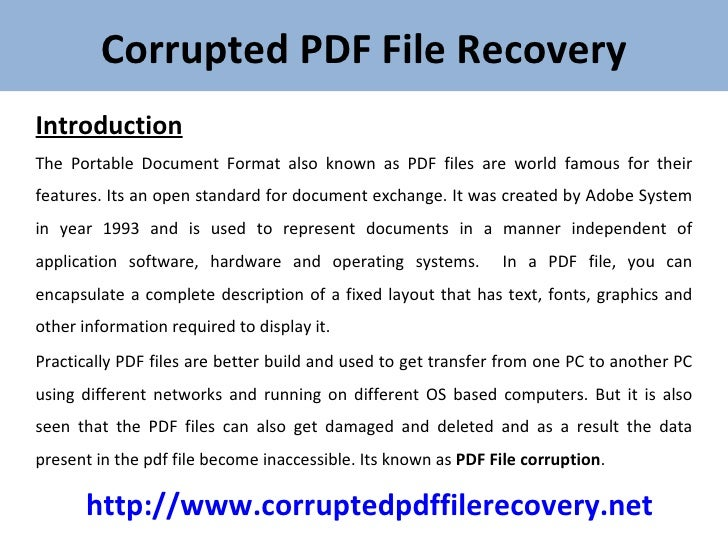 Damaged Pdf Recovery