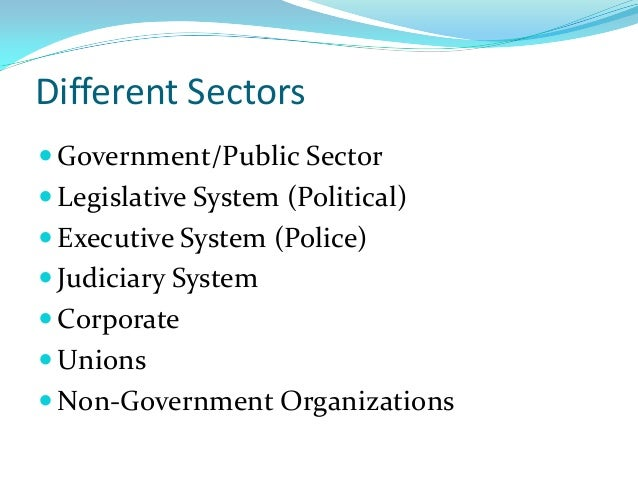 Different Sectors  Government/Public Sector  Legislative System (Political)  Executive System (Police)  Judiciary Syst...