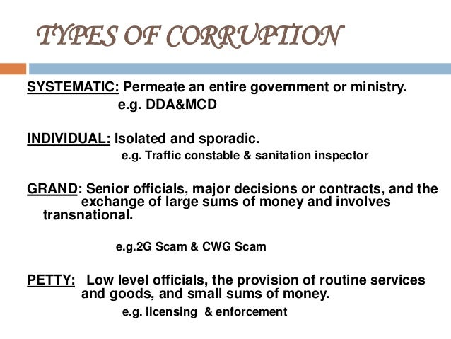 How bribery and other types of