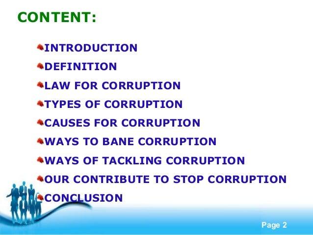 Combatting corruption