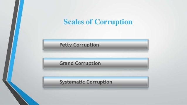 Petty Corruption Grand Corruption Systematic Corruption Scales of Corruption
