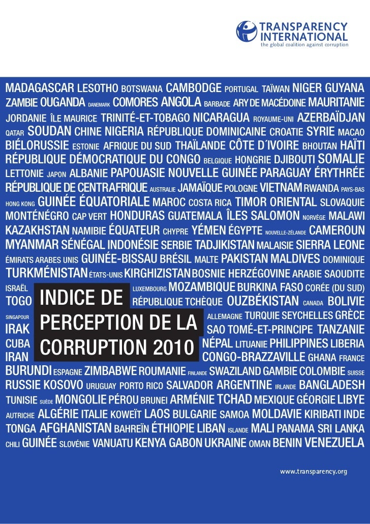 TRANSPARENCY                   INTERNATIONAL                   the global coalition against corruptionINDICE DEPERCEPTION ...