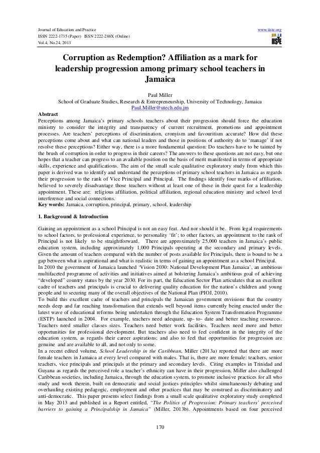 Journal of Education and Practice ISSN 2222-1735 (Paper) ISSN 2222-288X (Online) Vol.4, No.24, 2013  www.iiste.org  Corrup...