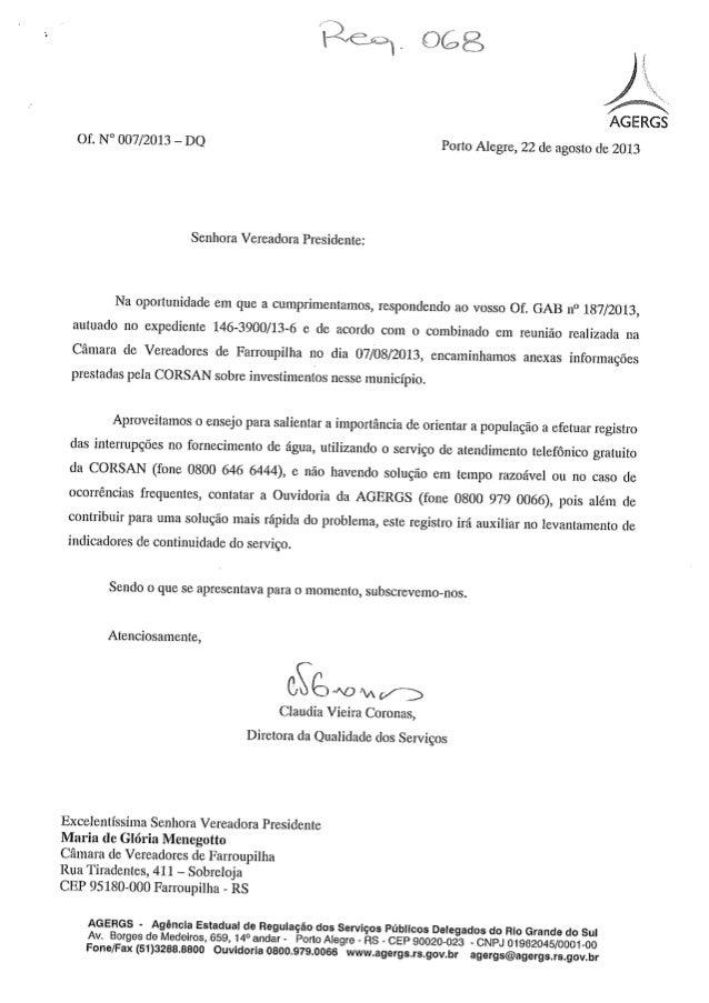 Ofício AGERGS/CORSAN